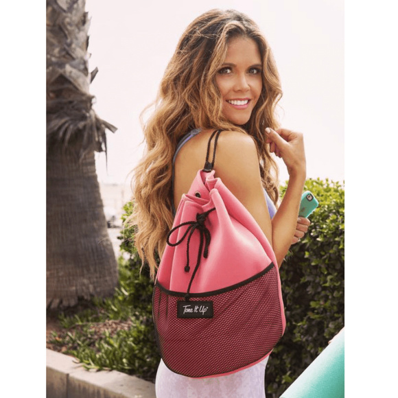 5d6046fcef63 TONE IT UP Coral Drawstring Beach Bag Backpack NEW